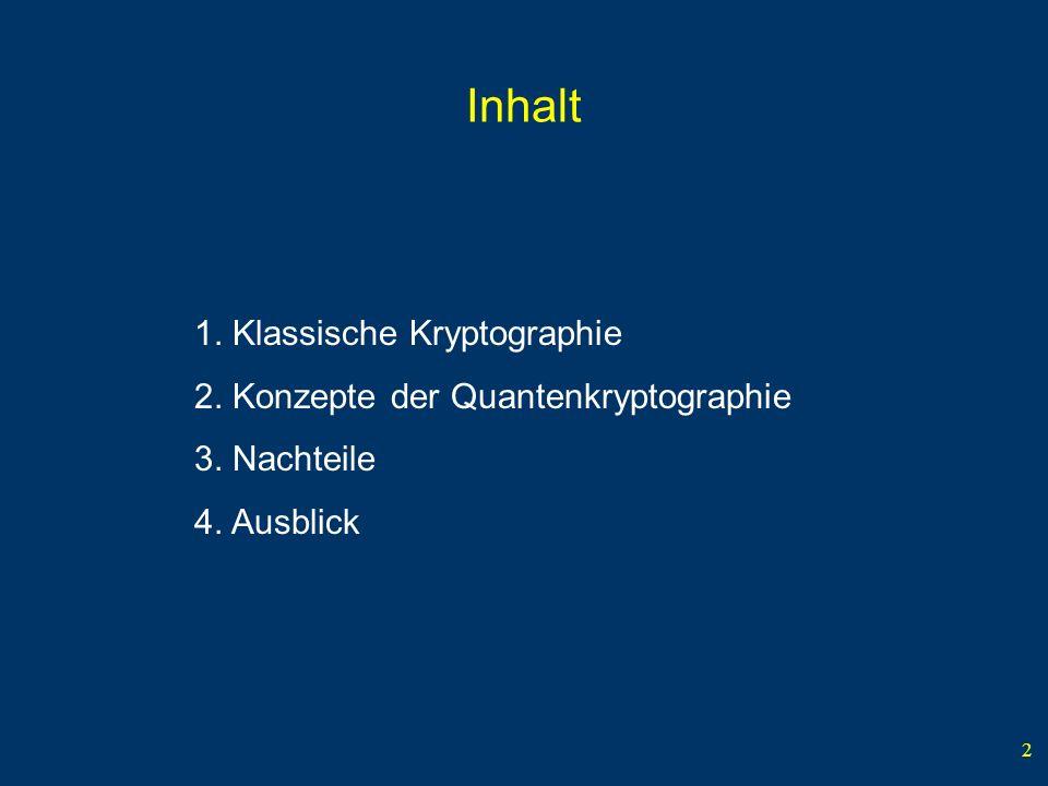 Inhalt 1. Klassische Kryptographie