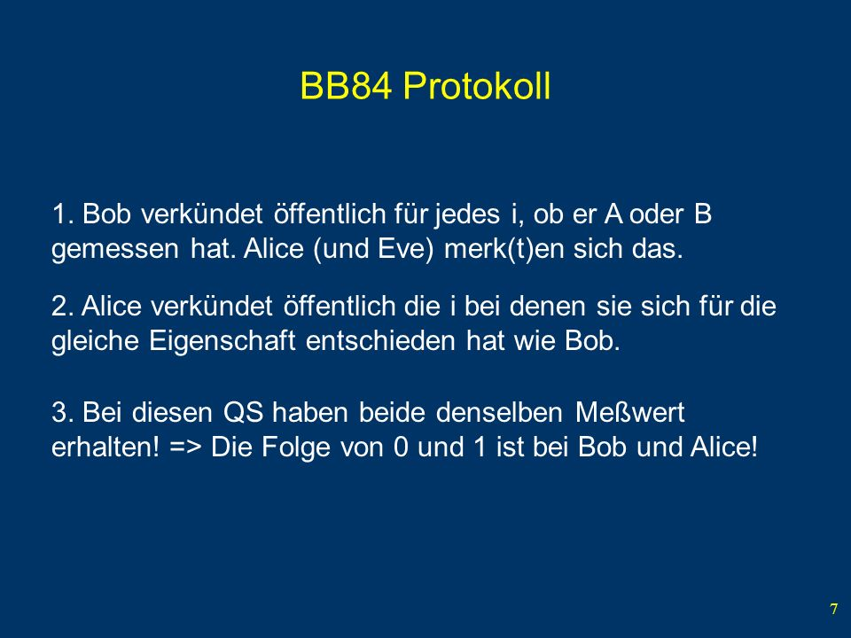 BB84 Protokoll 1. Bob verkündet öffentlich für jedes i, ob er A oder B gemessen hat. Alice (und Eve) merk(t)en sich das.