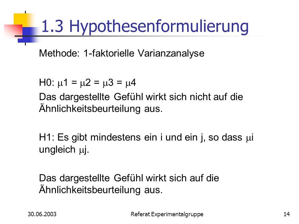 1.3 Hypothesenformulierung