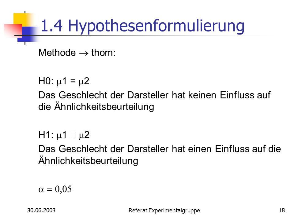 1.4 Hypothesenformulierung