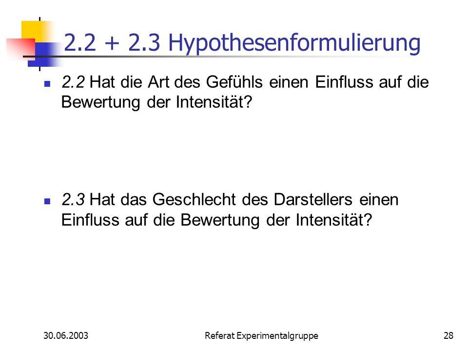 2.2 + 2.3 Hypothesenformulierung