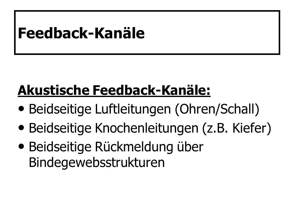 Feedback-Kanäle Akustische Feedback-Kanäle: