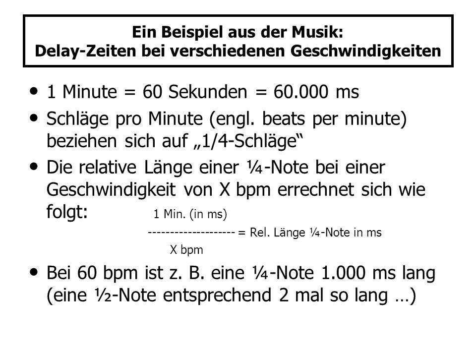 Ein Beispiel aus der Musik: Delay-Zeiten bei verschiedenen Geschwindigkeiten