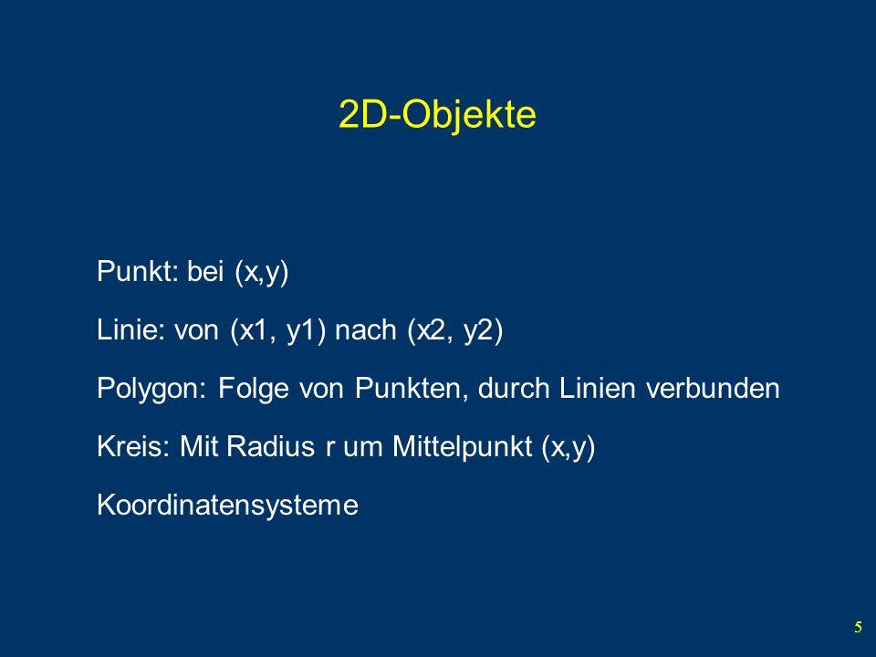 2D-Objekte Punkt: bei (x,y) Linie: von (x1, y1) nach (x2, y2)