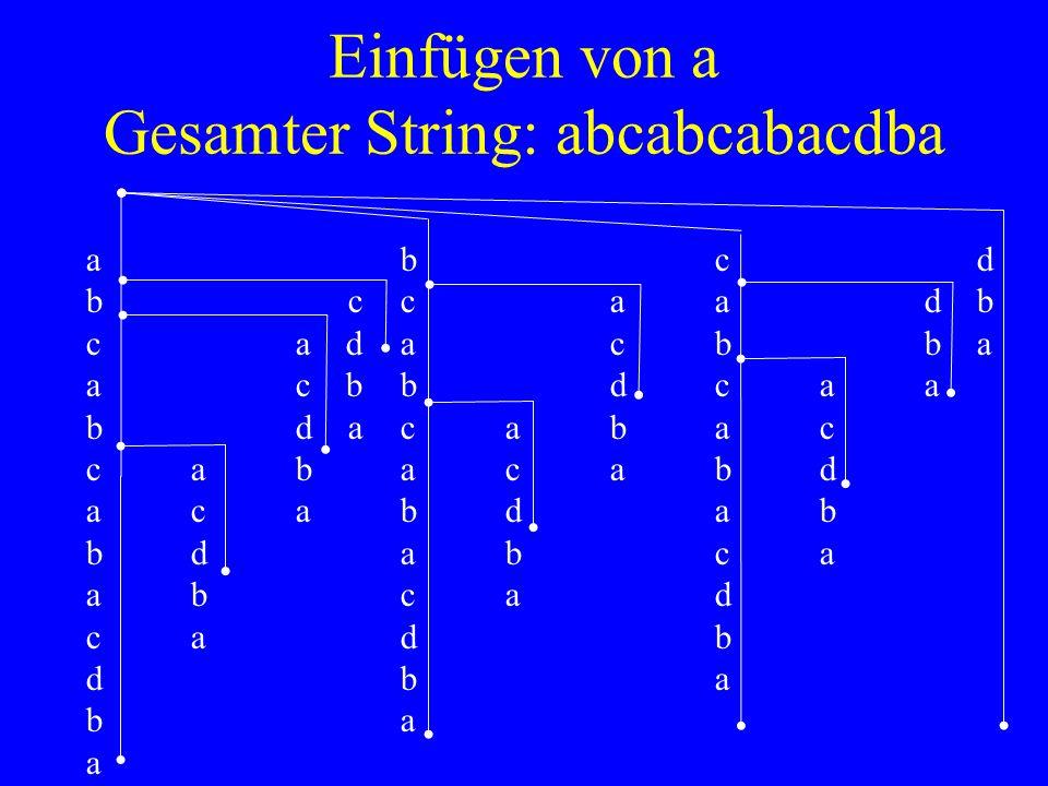 Einfügen von a Gesamter String: abcabcabacdba