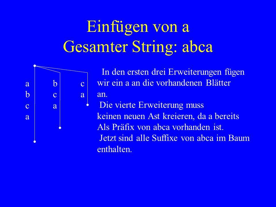 Einfügen von a Gesamter String: abca