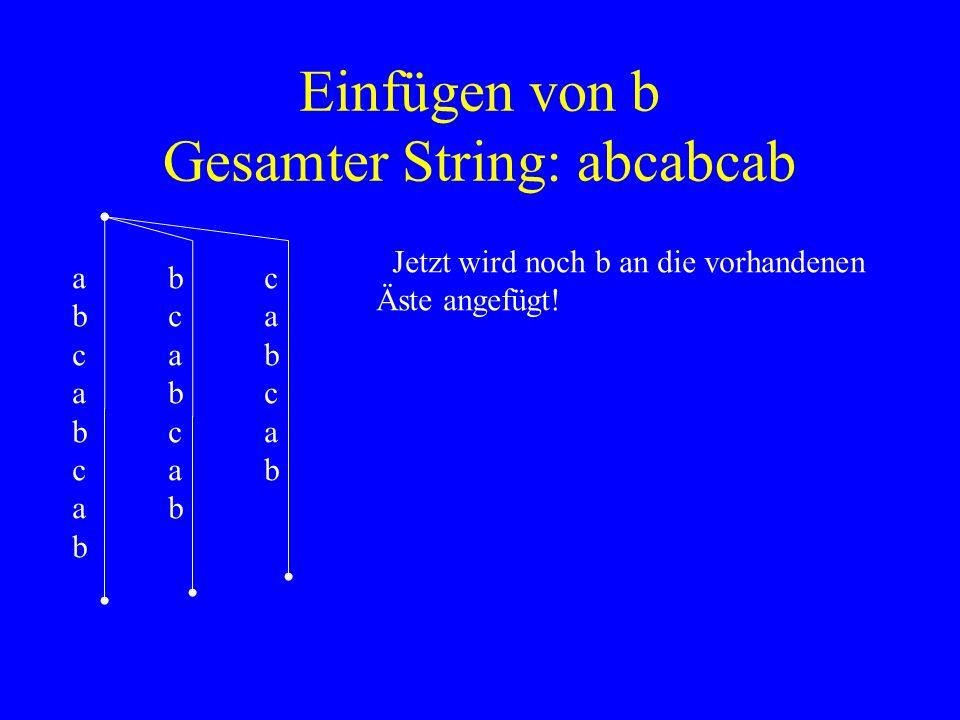 Einfügen von b Gesamter String: abcabcab