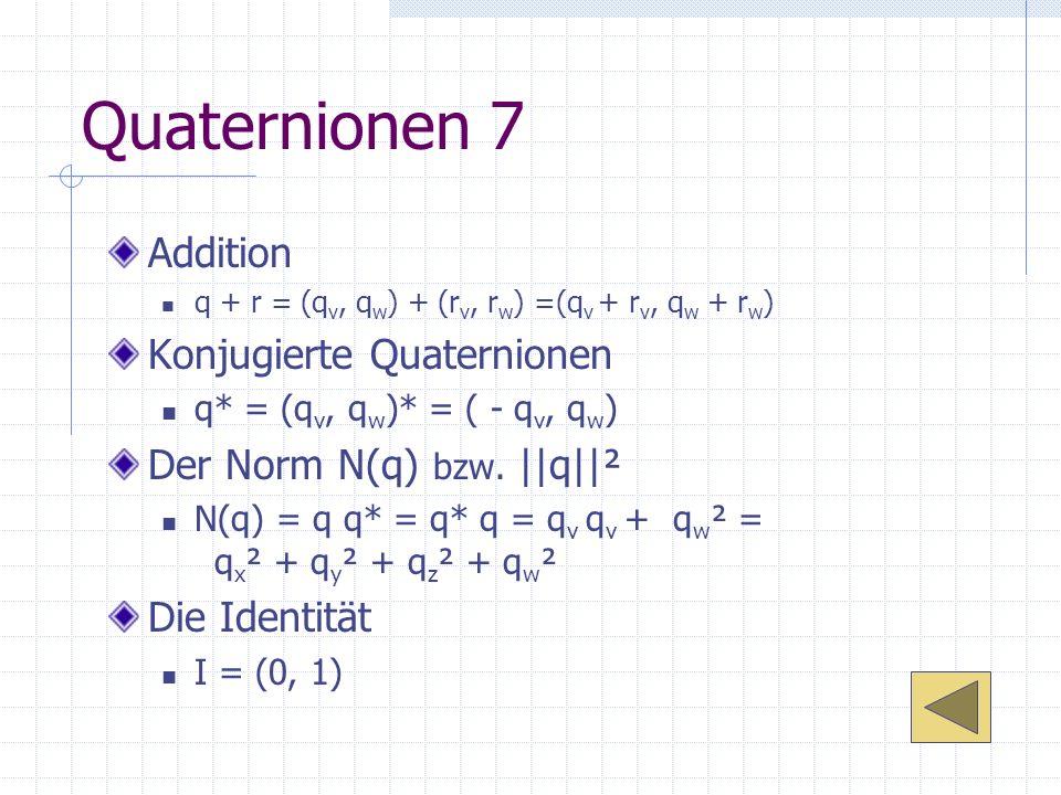 Quaternionen 7 Addition Konjugierte Quaternionen