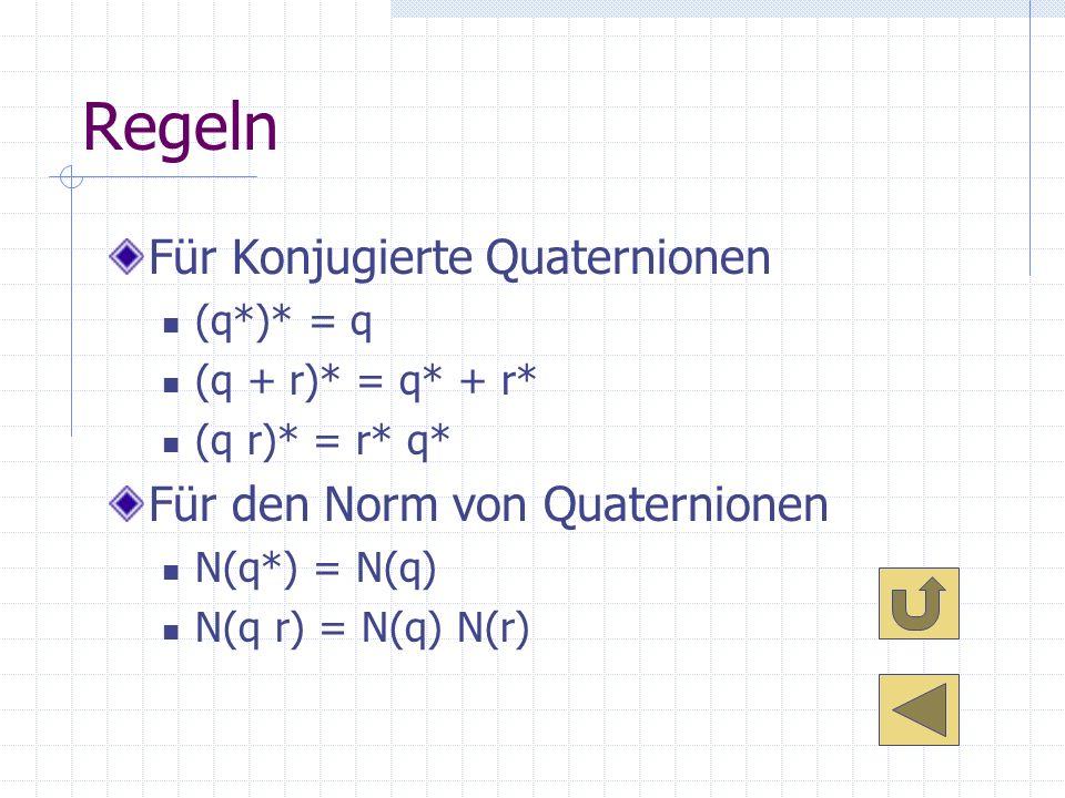 Regeln Für Konjugierte Quaternionen Für den Norm von Quaternionen