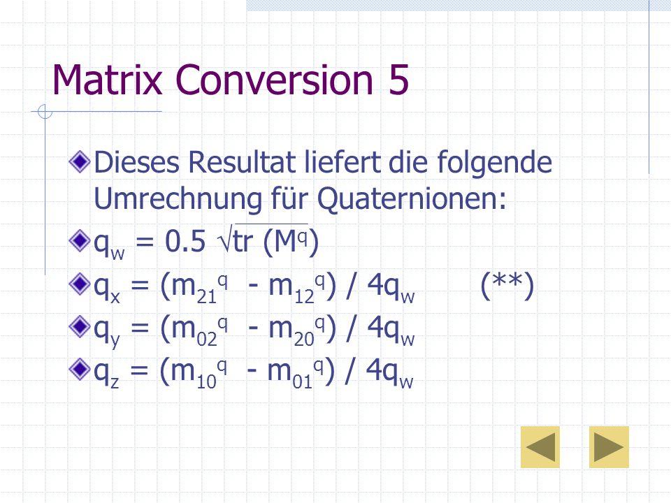 Matrix Conversion 5 Dieses Resultat liefert die folgende Umrechnung für Quaternionen: qw = 0.5 tr (Mq)