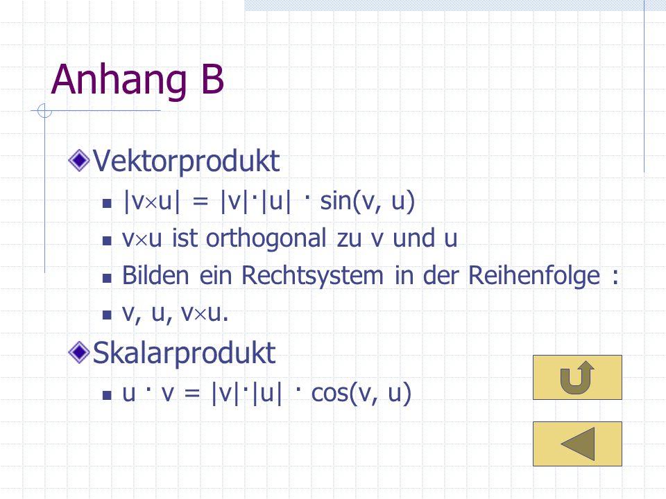 Anhang B Vektorprodukt Skalarprodukt |vu| = |v|·|u| · sin(v, u)