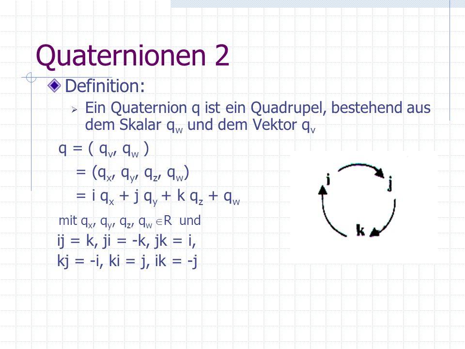 Quaternionen 2 Definition: q = ( qv, qw ) = (qx, qy, qz, qw)