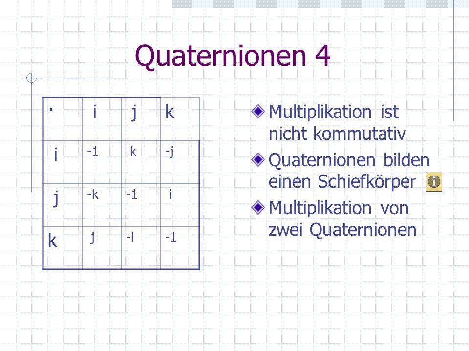 Quaternionen 4 · i j k Multiplikation ist nicht kommutativ