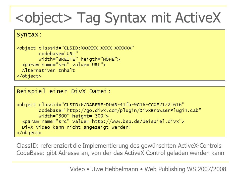 <object> Tag Syntax mit ActiveX