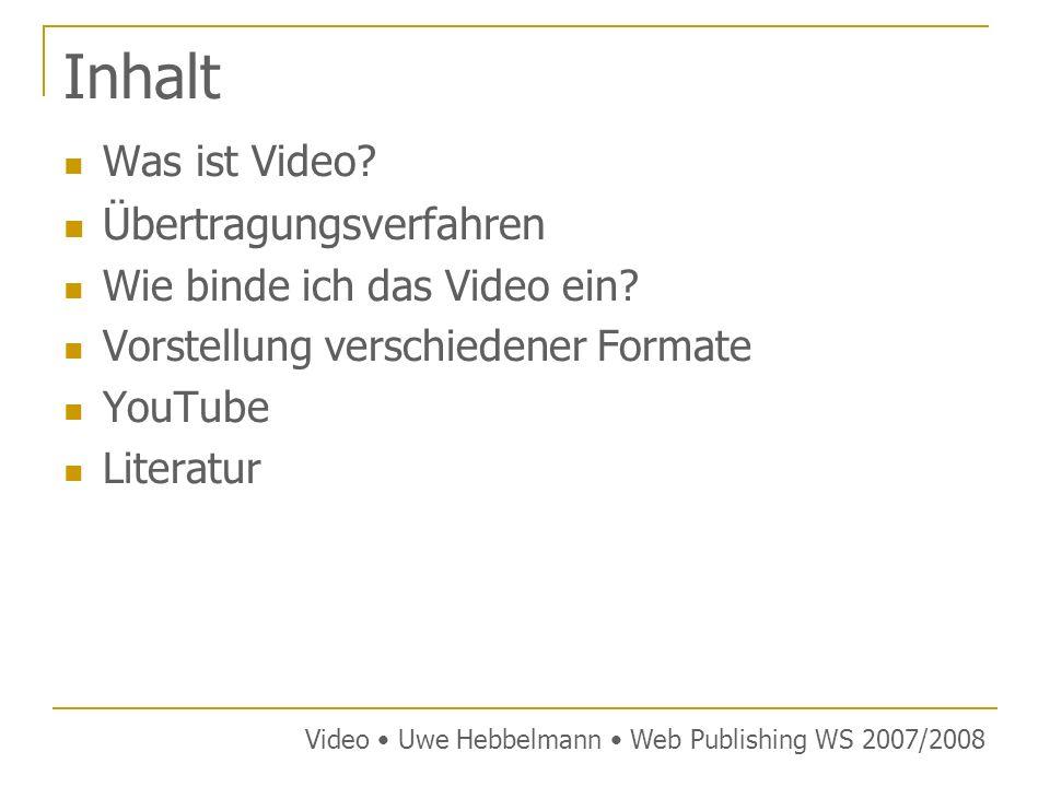 Inhalt Übertragungsverfahren Was ist Video
