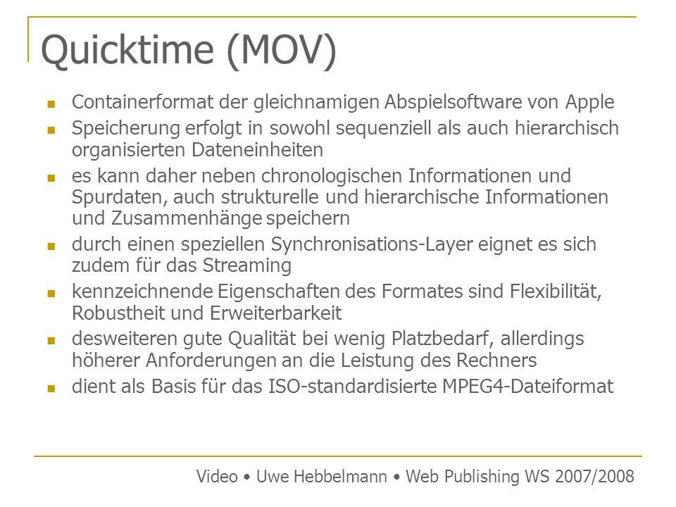 Quicktime (MOV) Containerformat der gleichnamigen Abspielsoftware von Apple.
