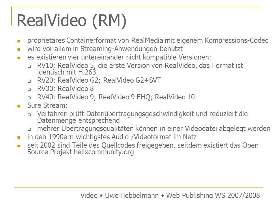 RealVideo (RM) proprietäres Containerformat von RealMedia mit eigenem Kompressions-Codec. wird vor allem in Streaming-Anwendungen benutzt.