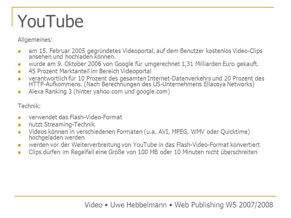 YouTube Video • Uwe Hebbelmann • Web Publishing WS 2007/2008