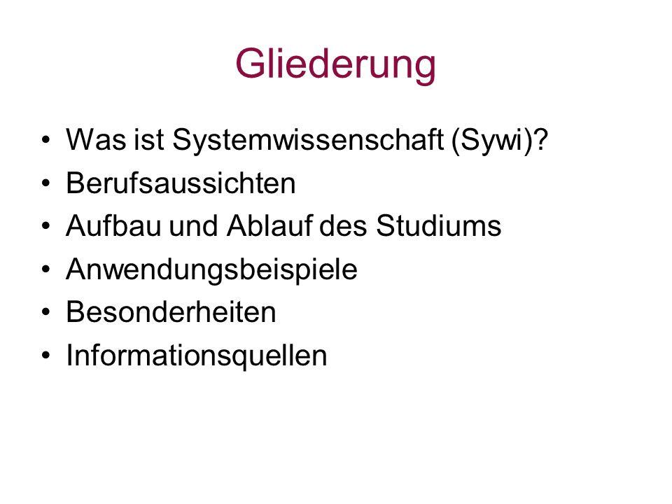 Gliederung Was ist Systemwissenschaft (Sywi) Berufsaussichten