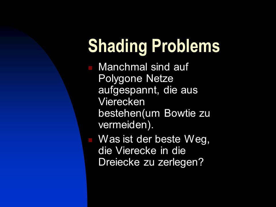 Shading Problems Manchmal sind auf Polygone Netze aufgespannt, die aus Vierecken bestehen(um Bowtie zu vermeiden).