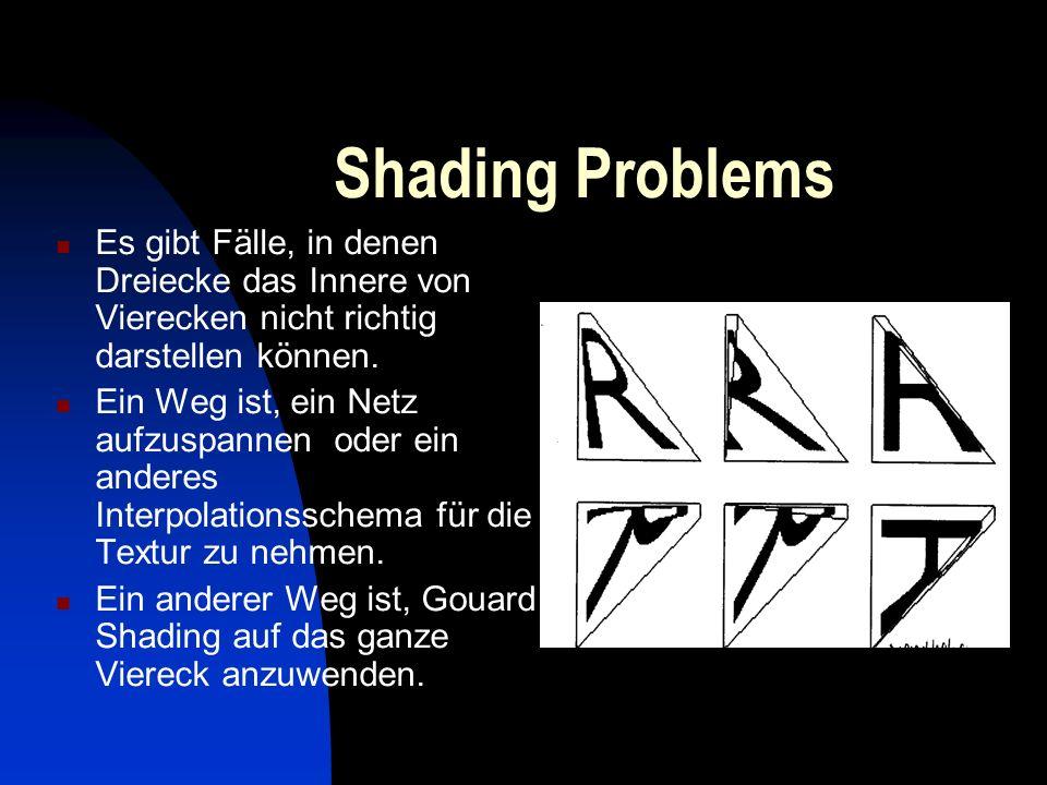 Shading Problems Es gibt Fälle, in denen Dreiecke das Innere von Vierecken nicht richtig darstellen können.
