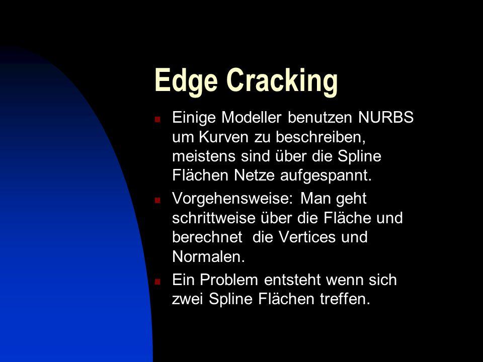 Edge Cracking Einige Modeller benutzen NURBS um Kurven zu beschreiben, meistens sind über die Spline Flächen Netze aufgespannt.