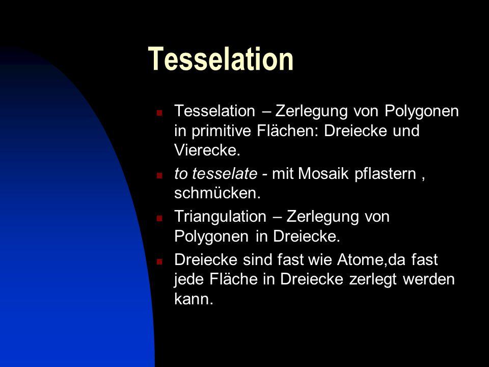Tesselation Tesselation – Zerlegung von Polygonen in primitive Flächen: Dreiecke und Vierecke. to tesselate - mit Mosaik pflastern , schmücken.