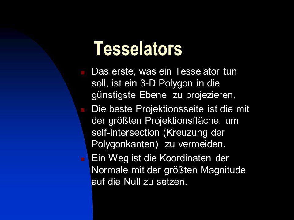Tesselators Das erste, was ein Tesselator tun soll, ist ein 3-D Polygon in die günstigste Ebene zu projezieren.