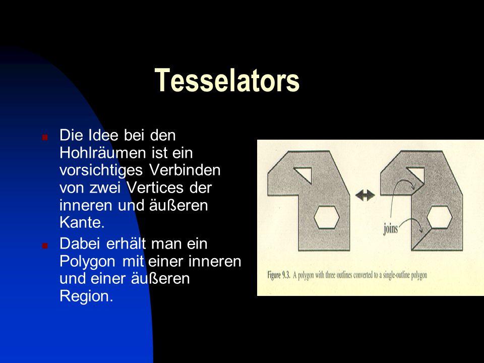 Tesselators Die Idee bei den Hohlräumen ist ein vorsichtiges Verbinden von zwei Vertices der inneren und äußeren Kante.