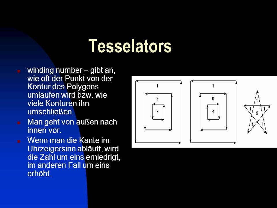 Tesselators winding number – gibt an, wie oft der Punkt von der Kontur des Polygons umlaufen wird bzw. wie viele Konturen ihn umschließen.