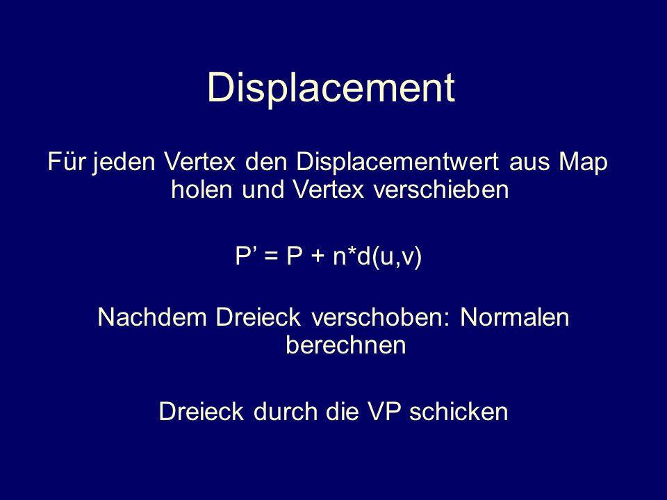 DisplacementFür jeden Vertex den Displacementwert aus Map holen und Vertex verschieben. P' = P + n*d(u,v)
