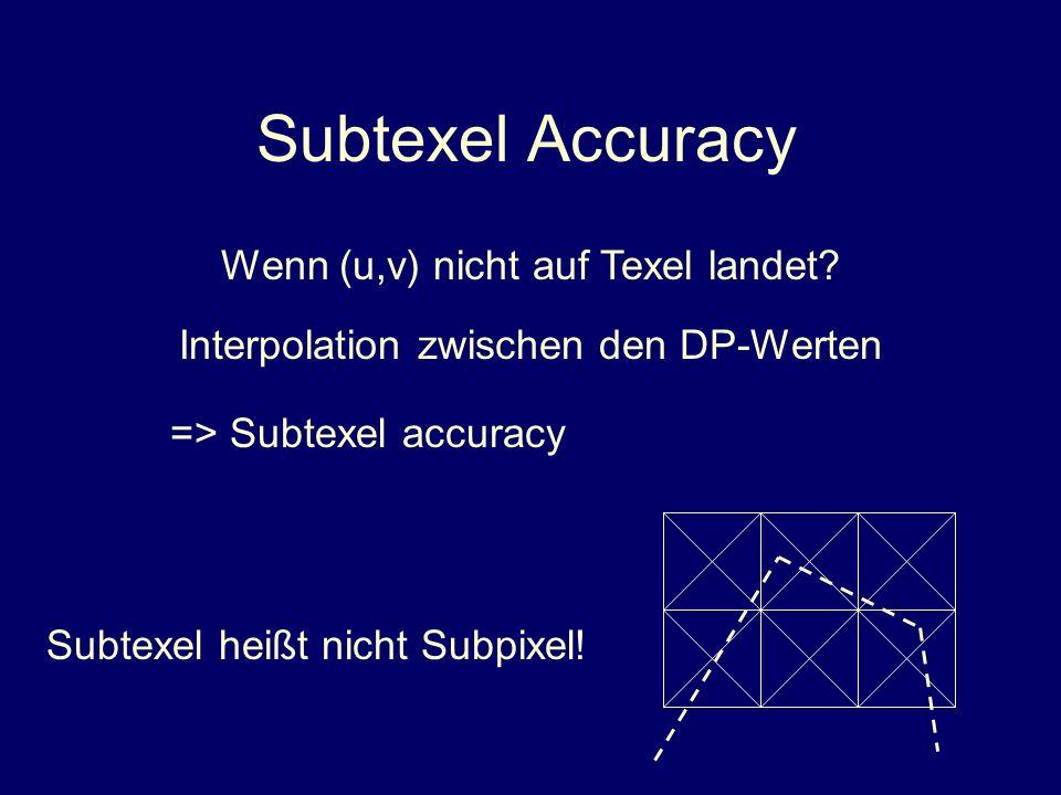 Subtexel Accuracy Wenn (u,v) nicht auf Texel landet
