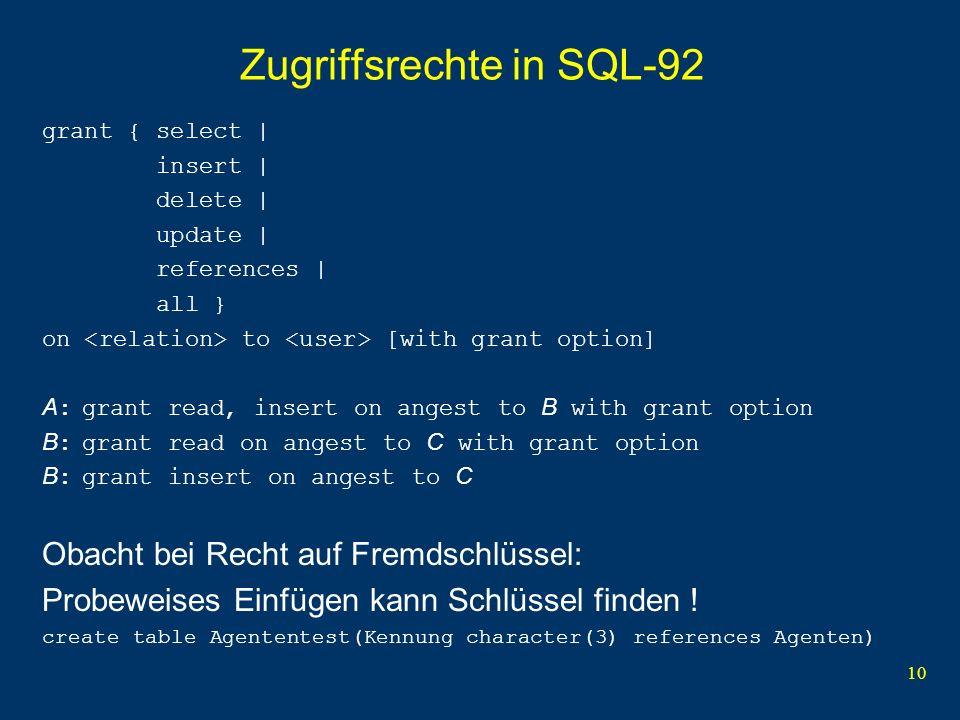 Zugriffsrechte in SQL-92