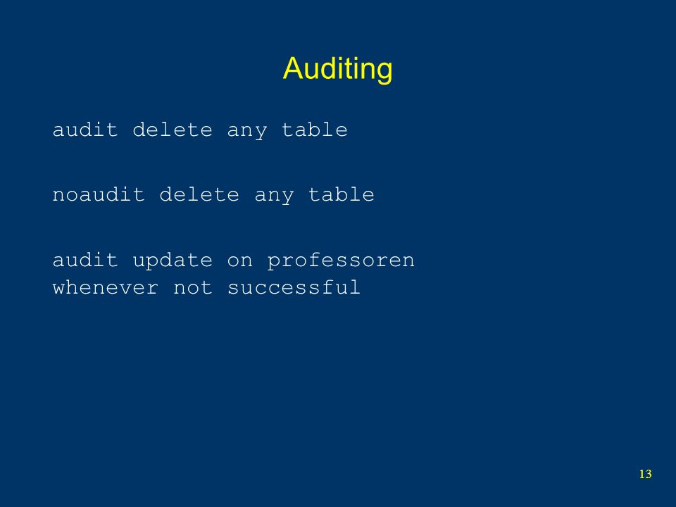 Auditing audit delete any table noaudit delete any table
