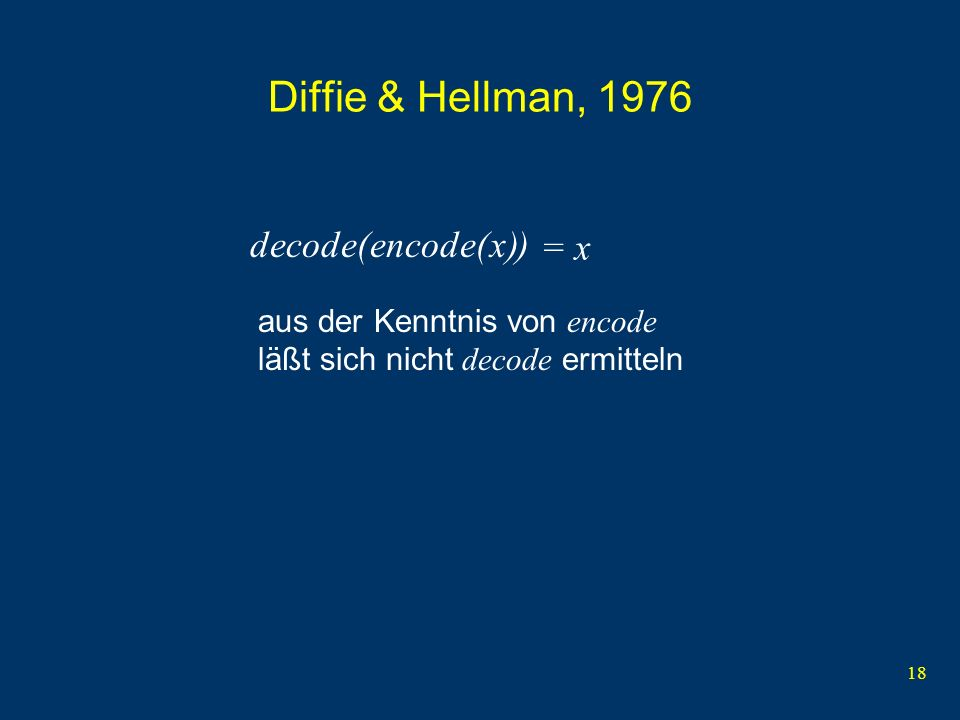 Diffie & Hellman, 1976 decode( ) encode( ) x = x