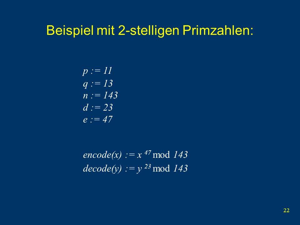 Beispiel mit 2-stelligen Primzahlen: