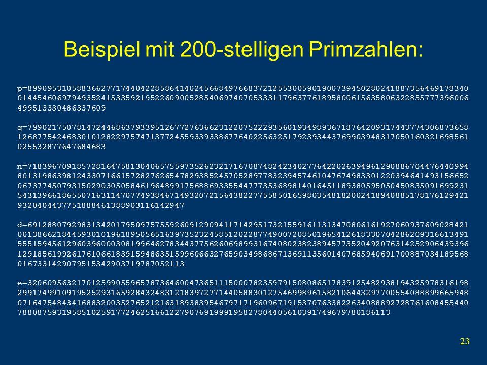 Beispiel mit 200-stelligen Primzahlen: