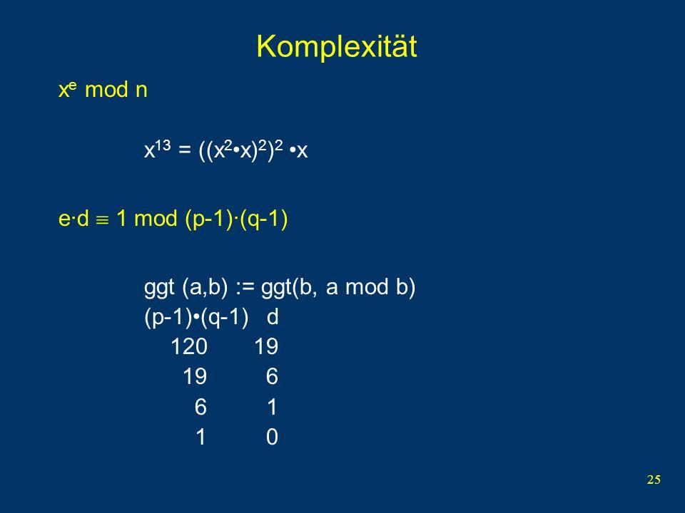 Komplexität xe mod n x13 = ((x2•x)2)2 •x e·d  1 mod (p-1)·(q-1)