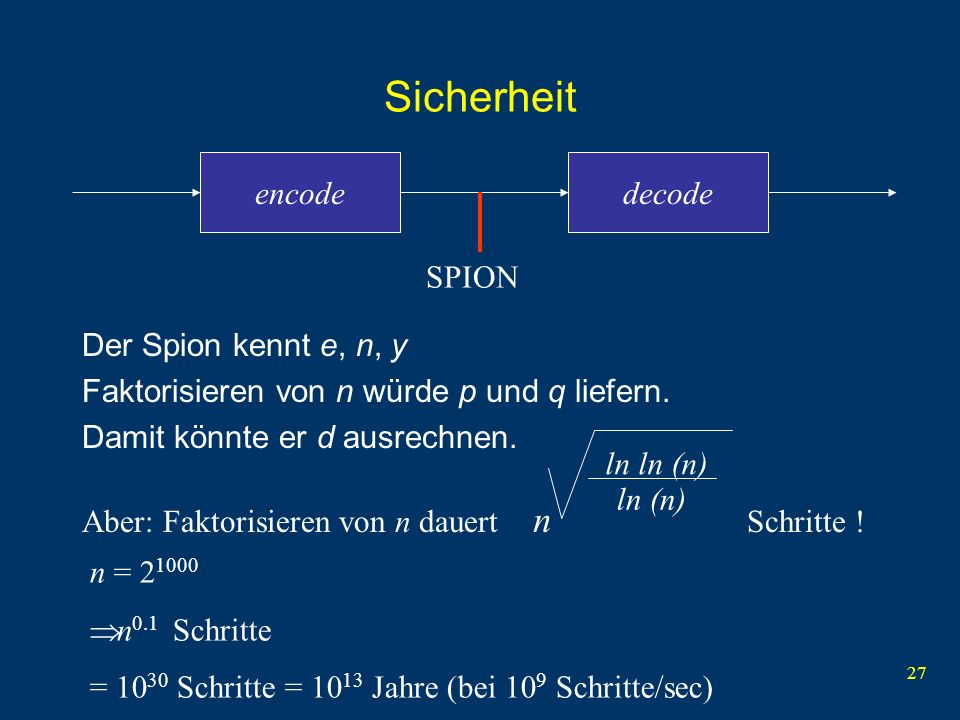 Sicherheit n encode decode SPION Der Spion kennt e, n, y