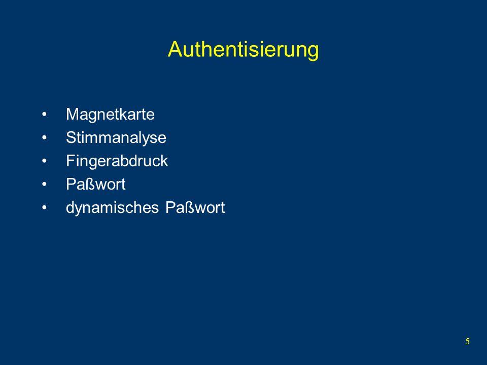Authentisierung Magnetkarte Stimmanalyse Fingerabdruck Paßwort