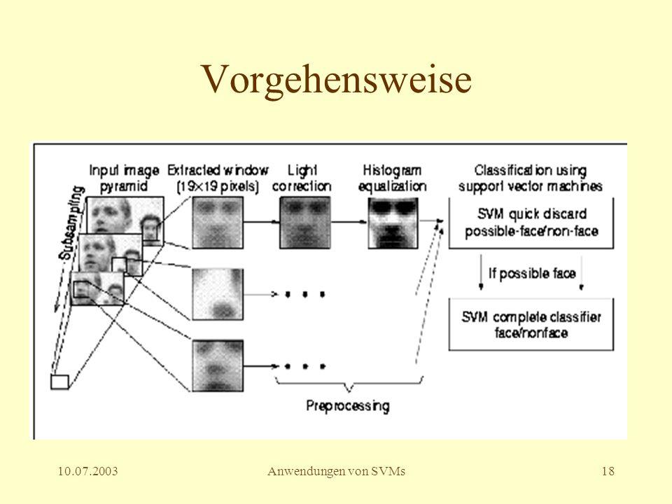Vorgehensweise 10.07.2003 Anwendungen von SVMs