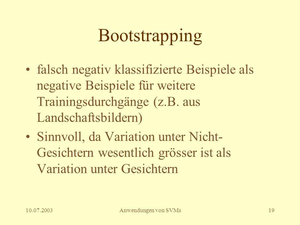 Bootstrapping falsch negativ klassifizierte Beispiele als negative Beispiele für weitere Trainingsdurchgänge (z.B. aus Landschaftsbildern)
