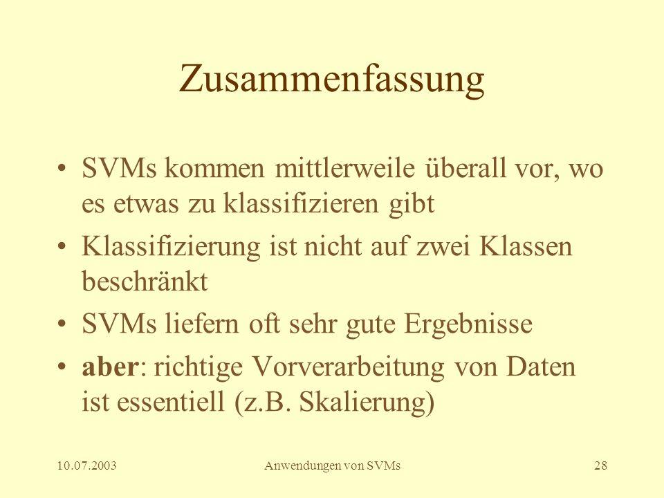 Zusammenfassung SVMs kommen mittlerweile überall vor, wo es etwas zu klassifizieren gibt. Klassifizierung ist nicht auf zwei Klassen beschränkt.