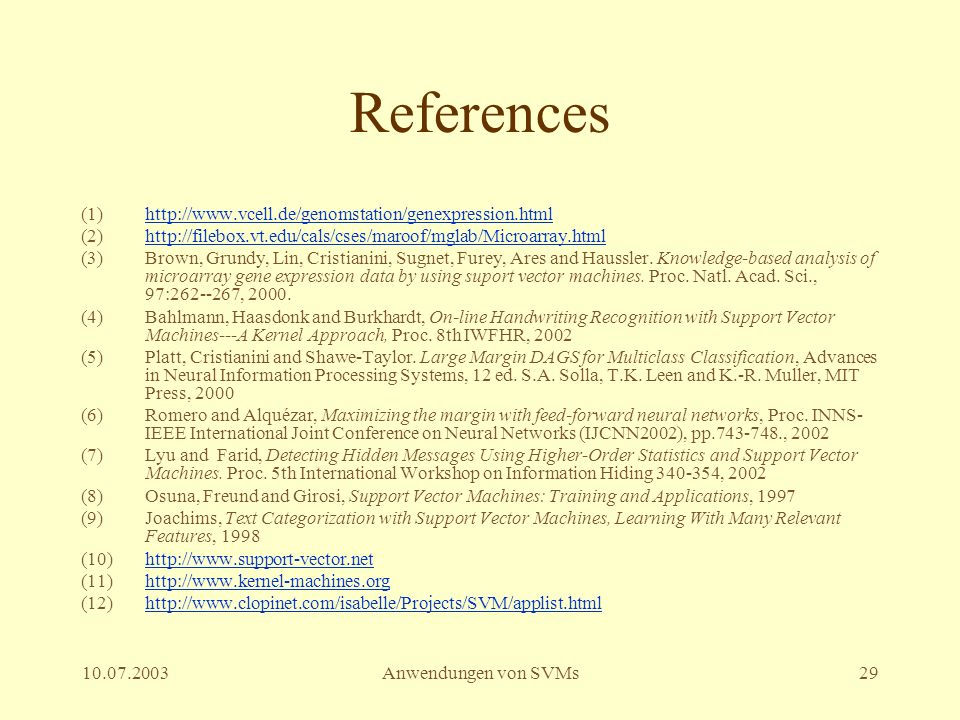 References http://www.vcell.de/genomstation/genexpression.html