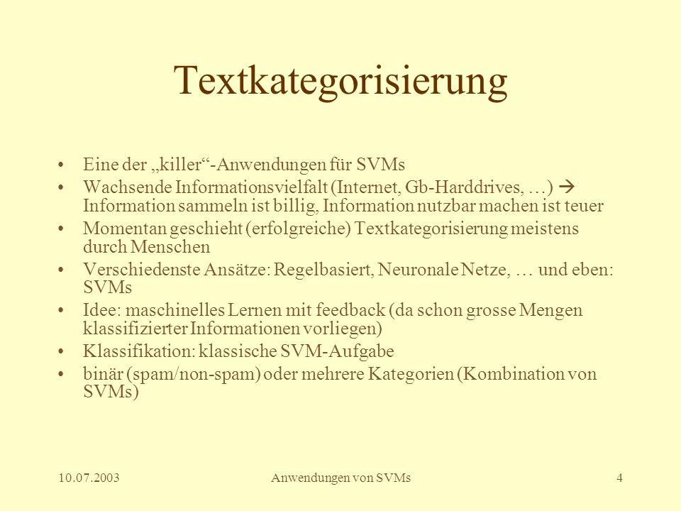 """Textkategorisierung Eine der """"killer -Anwendungen für SVMs"""