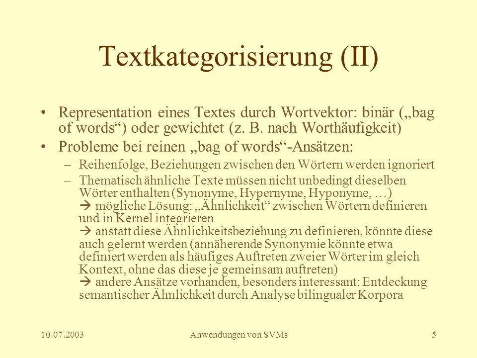 Textkategorisierung (II)