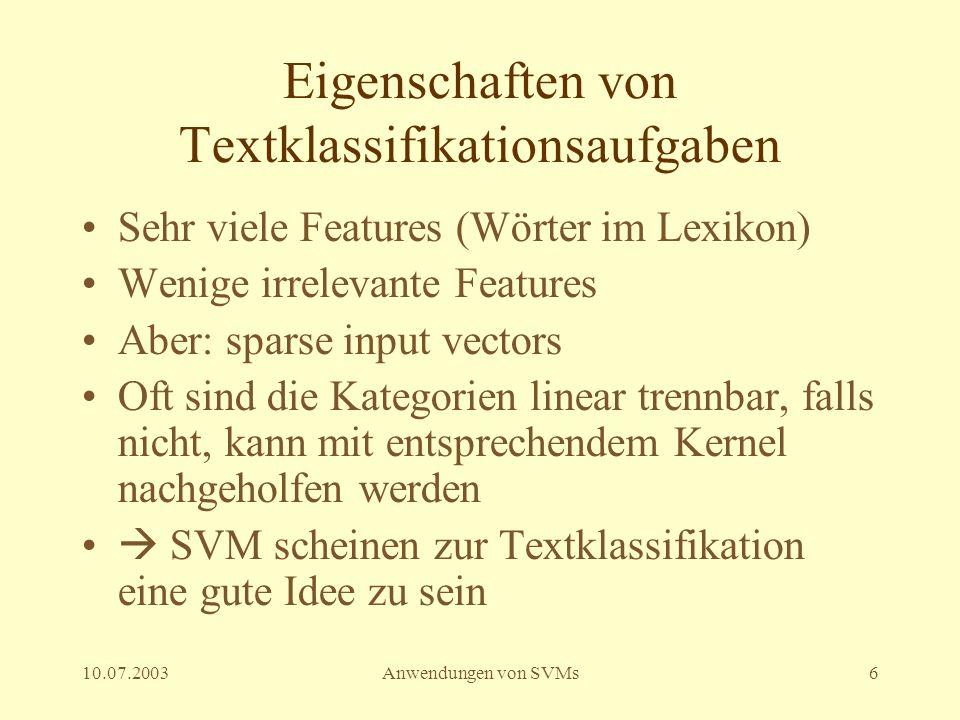 Eigenschaften von Textklassifikationsaufgaben