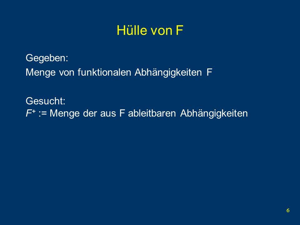 Hülle von F Gegeben: Menge von funktionalen Abhängigkeiten F
