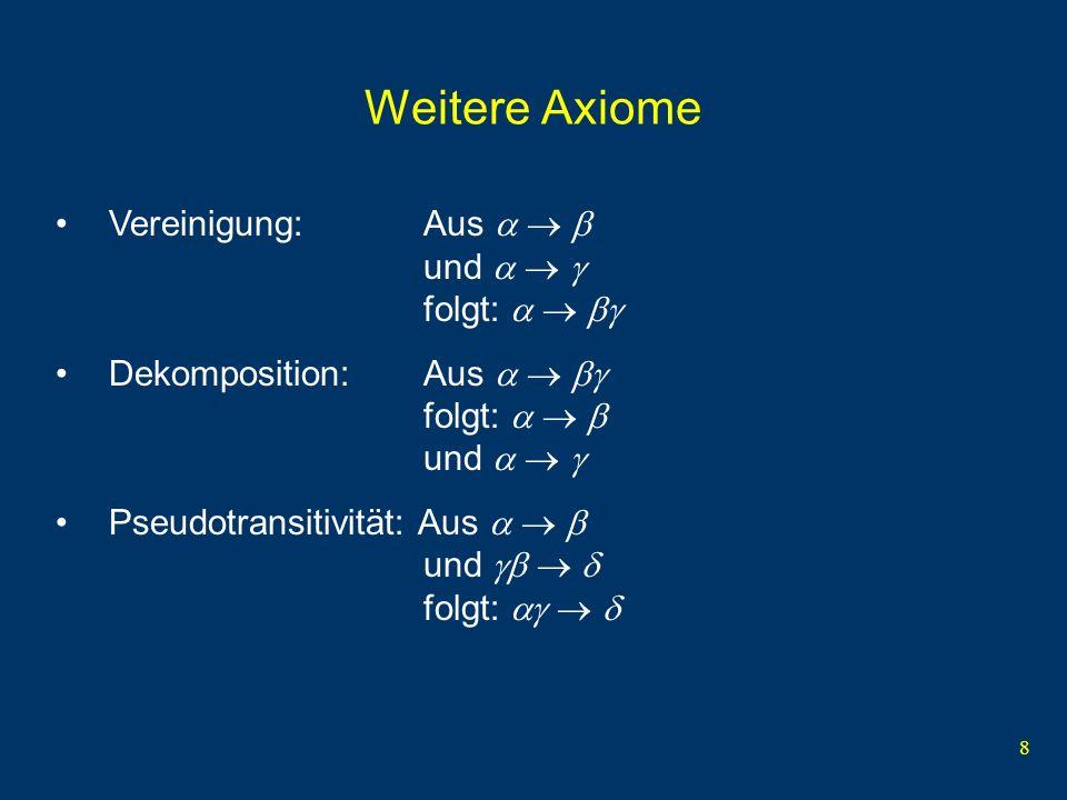 Weitere Axiome Vereinigung: Aus    und    folgt:   