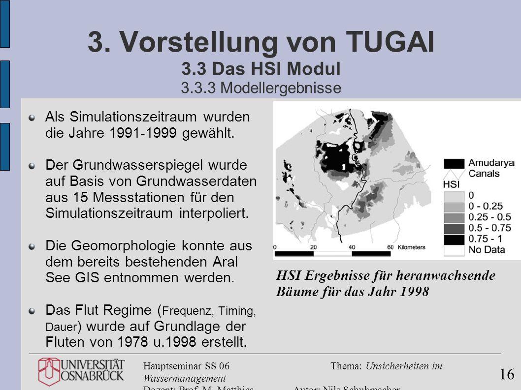 3. Vorstellung von TUGAI 3.3 Das HSI Modul 3.3.3 Modellergebnisse